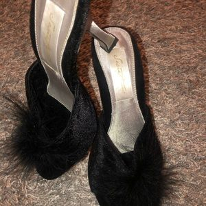 Velvet and Feather High Heel Shoes